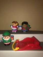 Fisher Price Little People Christmas Elf Skiers Red Sled