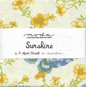 """Patchwork/Quilting Fabric Moda SUNSHINE by April Cornell 5"""" Charm Pack"""