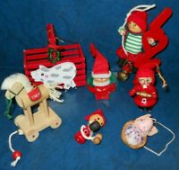 Vintage lot of 7 Wooden Christmas Ornaments Santa Elf Crate Hallmark 1987 Horse
