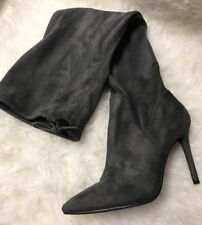 JESSICA SIMPSON Londy Really Grey Stretch Suede Over the Knee Fitted Dress Boots