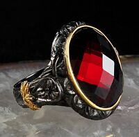 Ruby stone red Turkish jewelry 925 Sterling Silver Mens mans ring US ALL SİZE