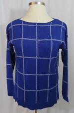 Chaus CHATEAU BLUE WINDOWPANE Sweater LARGE L Classic Design CAREER Lightweight