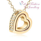 18K Yellow Gold Plated Made With Swarovski Crystal Eternal Love Heart Necklace