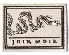 """(B57) JOIN OR DIE 8 Colonies Snake 3"""" x 2.25"""" iron on patch (4088) Biker"""