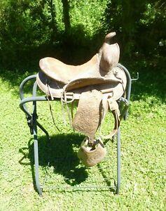 Vintage Brown Leather Child's Western Pony Saddle