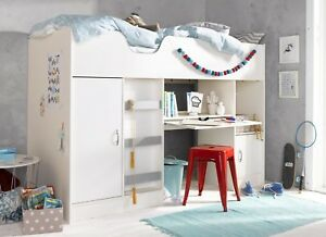 High Sleeper Cabin Bed With Extendable Desk Cupboard and Wardrobe Cromer R1860W
