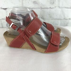Clarks Womens 7 M Red Leather Strappy Ankle Wedge Sandals