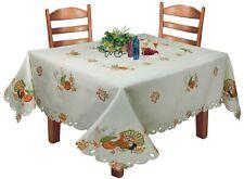 Creative Linens Fall Thanksgiving Turkey Pumpkin Tablecloth Napkin Ivory Holiday