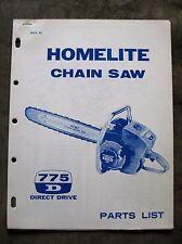 Homelite 775D Direct Drive Chain Saw Parts list