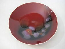 Japanese Burgundy Hand Painted Art Celadon Plate Bowl, Signed By Artist (Rare)