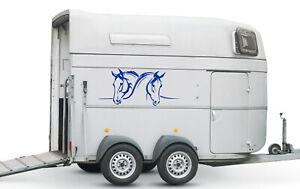 Aufkleber für Pferdeanhänger Pferde Köpfe Autoaufkleber versch. Größen Nr.2 Blau