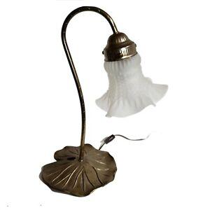 Vintage L & L WMC Gold Tone Metal Lamp Lilly Pad Tulip Decorative Ruffle Shade