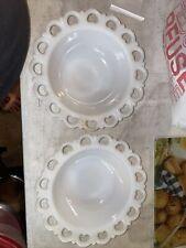 Vintage White Milk Glass Fruit Bowl Open Edge Scalloped Serving Vegetable Set 2