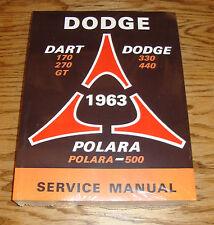 1963 Dodge Dart Polara Service Shop Manual 63
