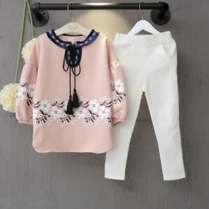 2PCS Kids Baby Girls Clothes Set Autumn Tops Pants Outfits Toddler Tracksuit