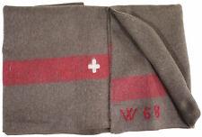 Suiza CH MILITAR Cubierta Manta de lana Manta Swiss Army Marrón Lana 200 x 140cm