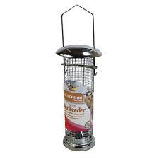 Deluxe Metal Bird Nut Feeder + 100g Peanuts Wire Mesh Garden Attract Wild Birds