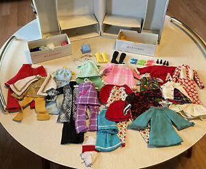 Vintage 1968 Mattel Barbie Doll Trunk Case With Vintage Clothes And Accessories