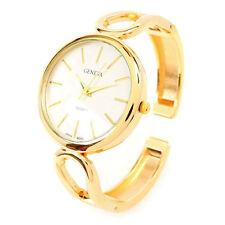 New Geneva Gold Metal Oval Face Fashion Women's Bangle Cuff Watch