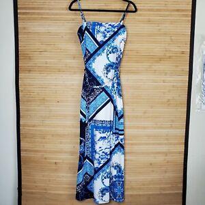 Cache SEXY Blue print MAXI Dress Summer Party Gown Cruise belt sz S