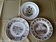 3 Vintage PLATES CANADA ROYAL DOULTON WOOD & SONS QUEBEC HOUSE OF PARLIAMENT