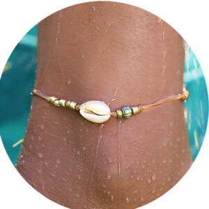 Bohemian Natural Cowrie Beads Shell Anklet Foot Beach Sandal for Women Jewelry