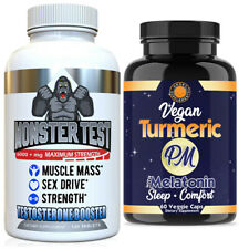 Testosterone Booster Male Sex Drive Monster Test + Turmeric PM Sleep Aid 2PK