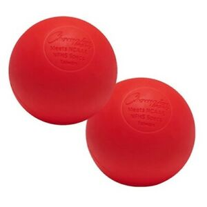 Champion Sports 2 Pack Official Rubber Lacrosse Balls, NFHS & NCAA Approved, Red