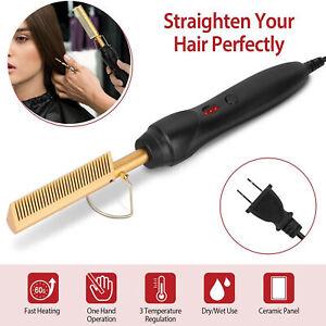Hair Straightener Flat Iron Straightening Brush Hot Heating Comb Hair Dry & Wet