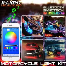 16x Motorcycle led lights Bluetooth Remote 18 color Neon Glow Light Strips Kit
