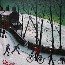 Snowball Ambush  : Original BEST Oil Painting from Famous Artist James Downie