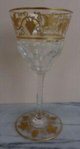 "Val St Lambert Crystal 24K Gold Pampre D'Or Grape Leaves White Wine Glass 5 7/8"""
