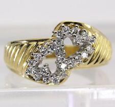 Diamond double heart ring 14K yellow gold 24 F color round brilliants .30CT sz 6