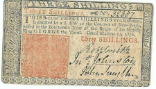 Revolutionary War New Jersey Continental Currency March 25 1776 Three Shillings