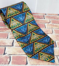 Mens Vintage Electric Neckwear Power Tie Blue Gold Green Silk Bright NT108