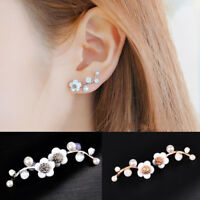 Women's Crystal Rhinestone Pearl Flower Ear Studs Earrings Elegant Jewelry Gift