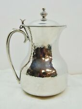 """SILVER PLATED HAMMERED CHURCH FLAGON / WATER JUG / PITCHER / EWER - 8"""""""