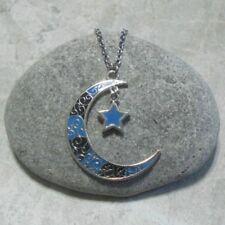 Black & Blue Crescent Moon Star Pendant Necklace Antique Silver