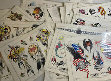 Vtg Cherry Creek Tattoo Flash 30 Sheets Lines 1995 Laminated Wolf Eagle Dragon