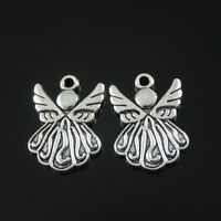 30pcs Antique Style Silver Tone Alloy Wing Angel Pendant Charms Jewelry 19mm