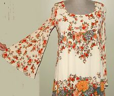 Vintage 1970's Bohemian White Floral Print Mod Tunic/Mini Dress S