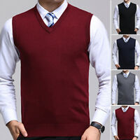 Knitwear Knitted Tank Pullover Sweater Plain Vest Sleeveless Mens Tops Cardigan