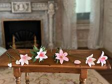 Vintage Miniature Dollhouse Nancy Barnett Set Painted Pink Tiger Lilies Flowers
