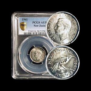 1941 New Zealand 6 Pence - PCGS AU58 Silver (CH aUNC) - Scarce KEY Date