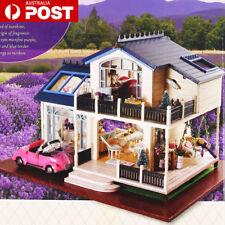 Wooden DIY Toy Doll House & Miniature Kit Caravan Dollhouse Music LED Lights Car
