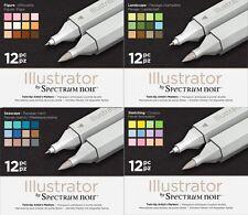 Espectro Noir-Ilustrador doble extremo artista Craft Pen Set-todos los paquetes de 4