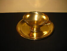ANTIQUE VICTORIAN BRASS EGG CUP WITH DEVICE TO SEPARATE THE EGG YOLK 1900s