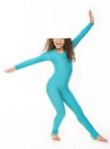Girls Shiny Nylon Long Sleeve Stirrup Foot Catsuit Bodysuit - Gymnastics, Dance