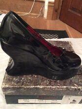 BNIB DEMONIA Bravo-02 Black Patent Platform Shoes SteamPunk Goth 6.5 RARE