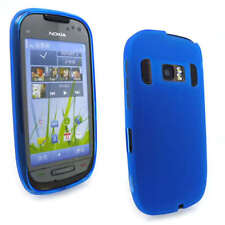 Blue Jelly Gel Case Cover for Nokia C7-00 + Screen Grd